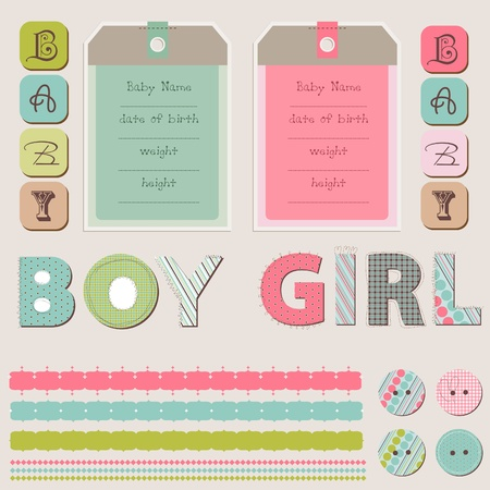 Scrapbook Baby Girl and Boy Set Stock Vector - 9600720