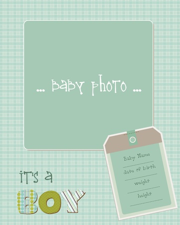 Baby Boy Arrival Card with Photo Frame in vector Stock Vector - 9809767