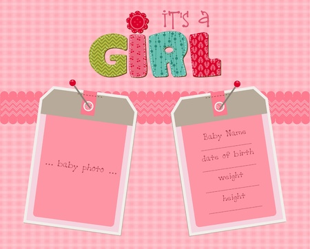 baby girl arrival: Baby Girl Arrival Card with Photo Frame in vector
