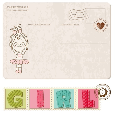 Baby Girl Arrival Postcard with set of stamps Stock Vector - 9809774