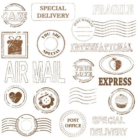 post stamp: Insieme di set di timbro Vector