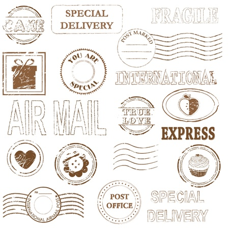 air mail: Vector stamp set collection