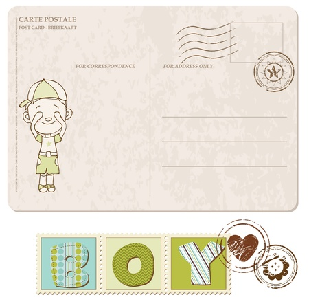 Baby Boy Arrival Postcard with set of stamps Stock Vector - 9809775