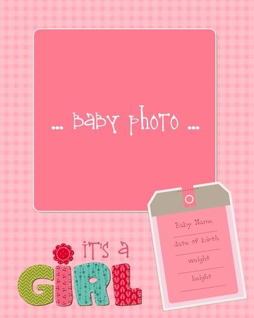 announcements: Baby Girl Arrival Card with Photo Frame in vector