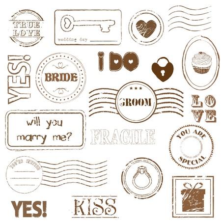 Set Of Wedding Postage Stamps Illustration