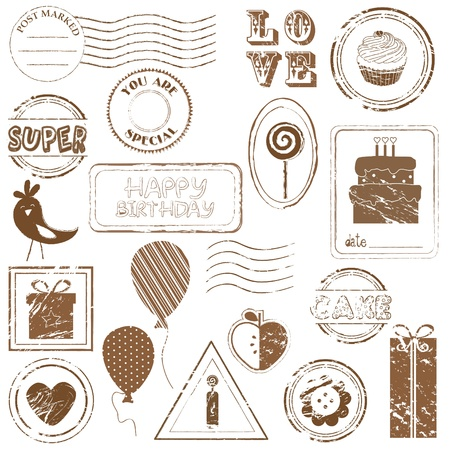 Birthday Vector Stamp Set - look for more in my gallery Stock Vector - 9809788