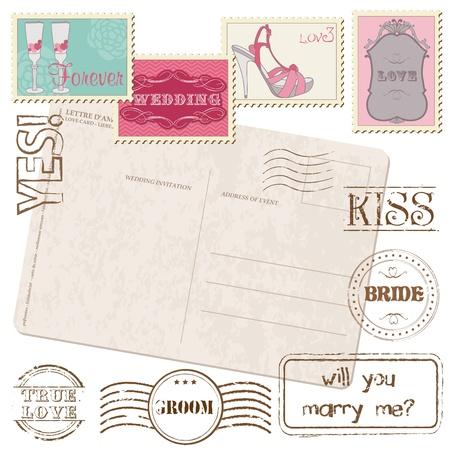postage stamps: Set Of Wedding Postage Stamps Illustration