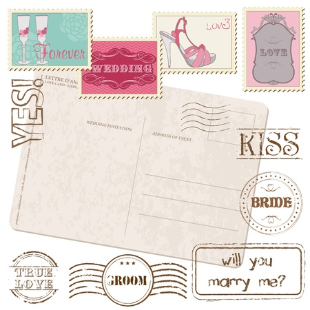 Set Of Wedding Postage Stamps Stock Vector - 9809792