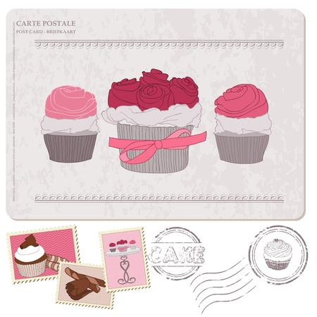 date stamp: Set of cupcakes on old postcard, with stamps - for design and scrapbooking