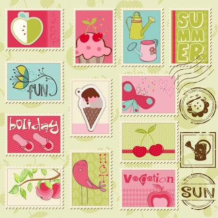 candy apple: Vector summer stamps - set of beautiful summer-related rubber stamps