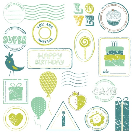 Birthday Vector Stamp Set IN COLOR - look for more in my gallery Stock Vector - 9809790
