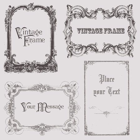 Vintage frames and design elements - with place for your text Stock Vector - 9809773