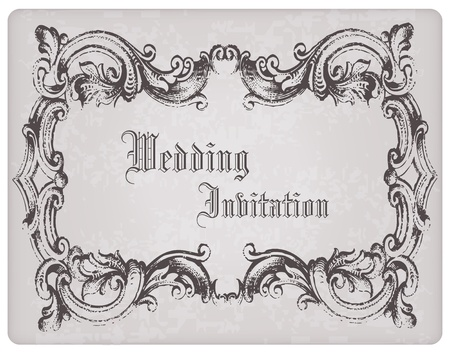 Retro Wedding Invitation postcard with beautiful frame - for design and scrapbook Vector