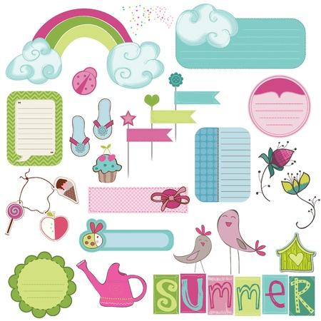 Summer Design Elements for scrapbook, card, invitation Stock Vector - 9809772