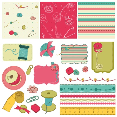 Sewing kit - design elements for scrapbooking  Vector