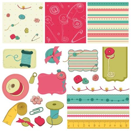 Sewing kit - design elements for scrapbooking  Иллюстрация
