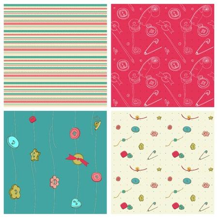 kit design: Set of 4 seamless backgrounds - Sewing kit design elements for scrapbooking  Illustration