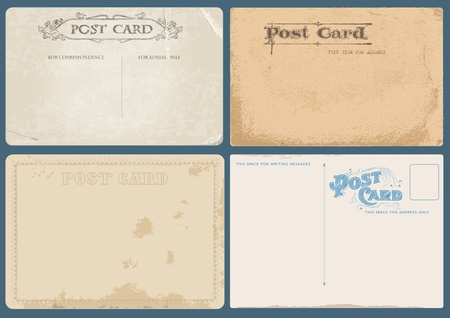 postcard: Set of Antique postcards in vector with Postal stamps- see more in my profile