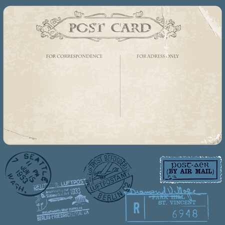 Antique postcards in vector with set of Postal stamps Stock Vector - 9942139