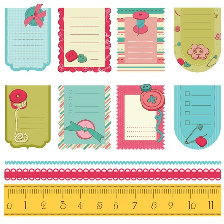 needlecraft: Design elements for baby scrapbook - cute tags with buttons
