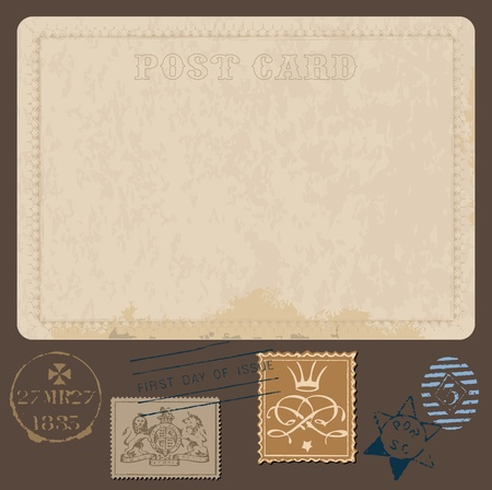Postales antiguas en vector con la serie de sellos postales