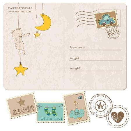 Baby Boy aankomst ansichtkaart met set van postzegels Vector Illustratie