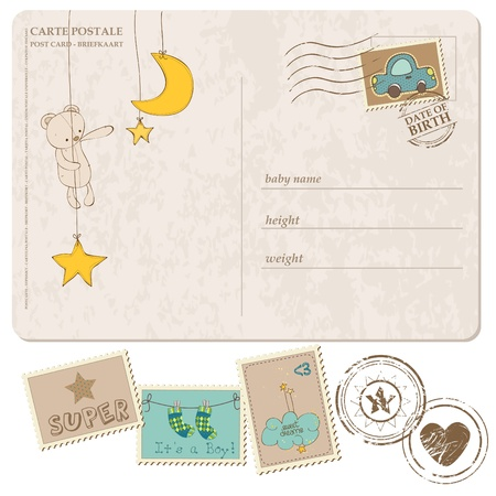 postcard: Baby Boy Arrival Postcard with set of stamps Illustration
