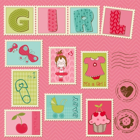 Baby Girl Postage Stamps Stock Vector - 9931324