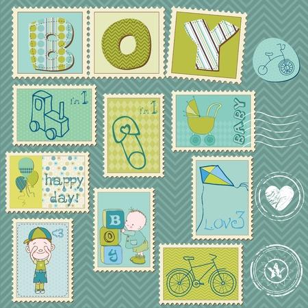 Sellos postales de Baby Boy Vectores