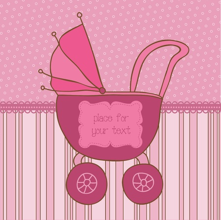 Baby Girl Arrival Card with Photo Frame and place for your text in vector Stock Vector - 9931309