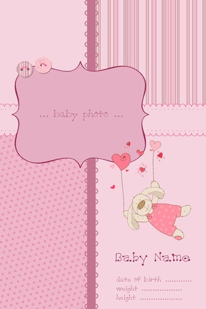 baby girl arrival: Baby Girl Arrival Card with Photo Frame and place for your text in vector