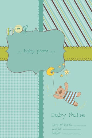 Baby Boy Arrival Card with Photo Frame and place for your text in vector Vector