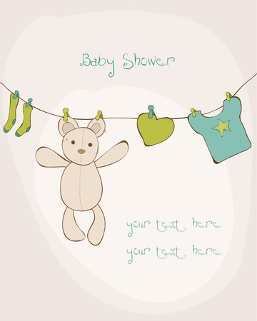Baby Shower Card with place for your text in vector Stock Vector - 9942215