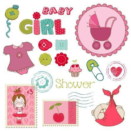 Scrapbook Baby shower Girl Set - design elements Stock Vector - 9942228