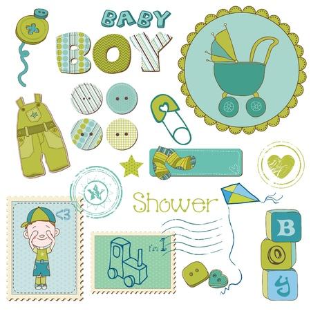 Scrapbook Baby shower Boy Set - design elements Vector