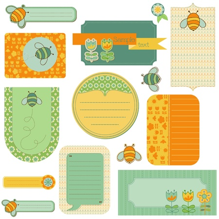 Baby Scrap with Bee- Set of Beautiful Tags Vector