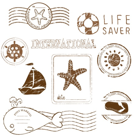 sea animals: Sea elements - rubber stamp collection