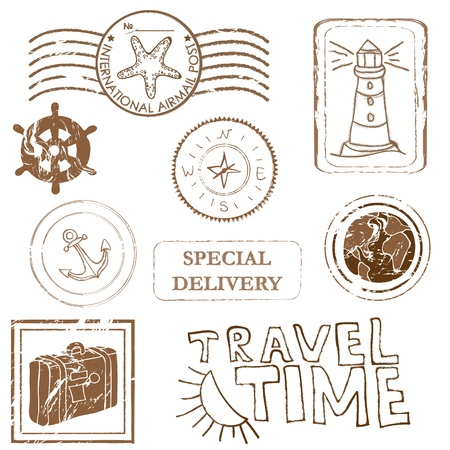Sea elements - rubber stamp collection  Vector
