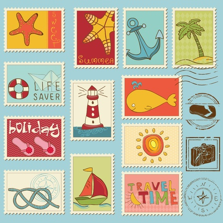 Sea elements - stamp collection  Stock Vector - 10136996