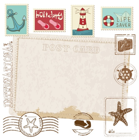 Retro Invitation postcard with SEA stamps - for design and scrapbook Stock Vector - 10137008