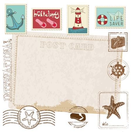 Retro Invitation postcard with SEA stamps - for design and scrapbook Vector