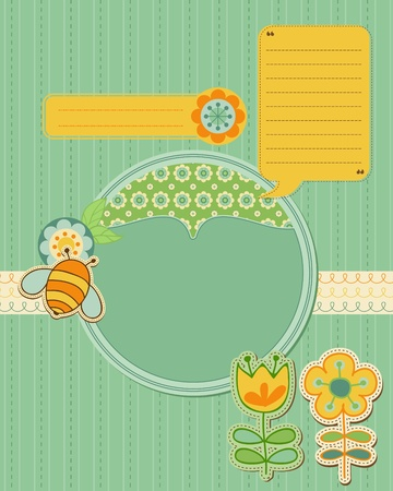 Baby Card with bee and flowers - for scrapbook and design Vector