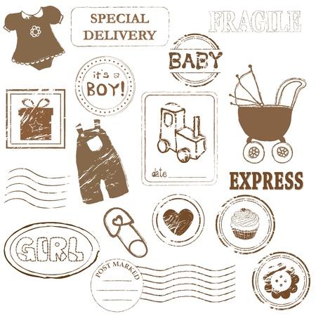 Collection de timbres de bébé  Vecteurs