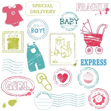 Colecci�n de sellos de beb� en color Vectores