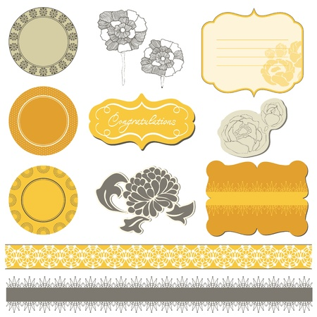 Scrapbook flower set Stock Vector - 10136992