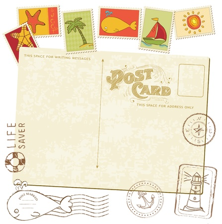 Retro Invitation postcard with SEA stamps - for design and scrapbook Stock Vector - 10137005