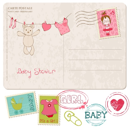 Douche van de Baby-kaart met reeks van postzegels