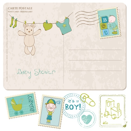 Baby Shower Card with set of stamps Stock Vector - 10137003