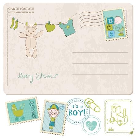 Carte de douche de bébé avec une série de timbres Vecteurs