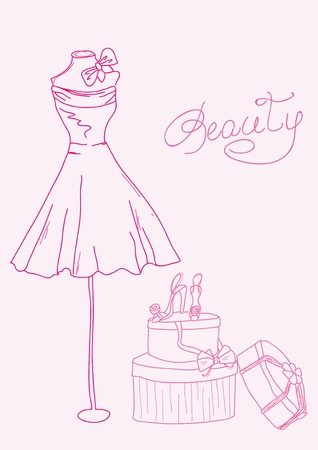 Fashion stylized doodles - lady's dress and shoes Stock Vector - 10136955